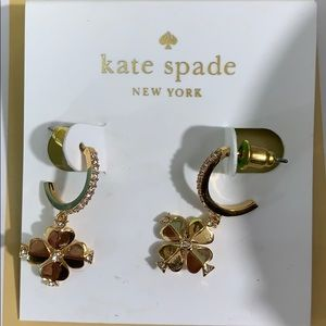 kate spade Jewelry - Kate Spade Legacy Logo Flower Huggies in Gold